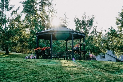 Gazebo at dusk on Village Green Retirement Campus in Federal Way, Washington