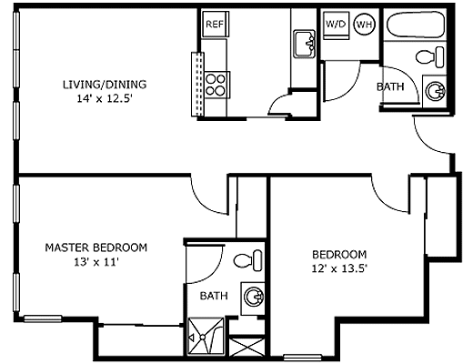 2 Bedroom Assisted Living Apartment Floor Plan