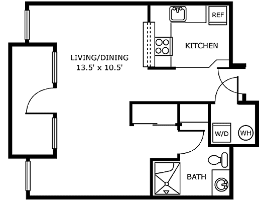 Assisted Living Studio Apartment Floor Plan Example