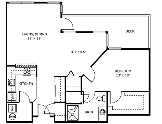 1 BedroomB Independent Living Apartment Floor Plan