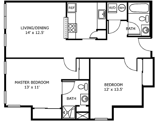 2 BedroomA Independent Living Apartment Floor Plan