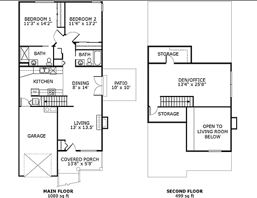 The Dogwood - 2 Bedroom Cottages Independent Living Floor Plans