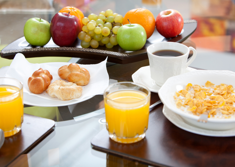 Healthy breakfast displayed on the dinning room