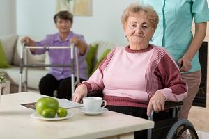 Older disabled woman on wheelchair in nursing home