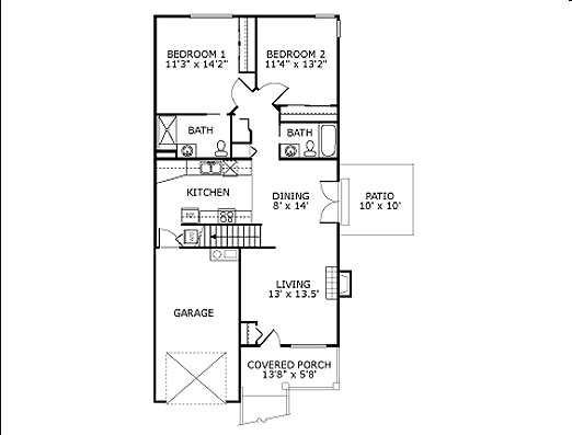The Dogwood - 2 Bedroom Cottages Independent Living Floor Plan